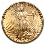 1908-D $20 St. Gaudens Gold - No Motto - MS-63 PCGS