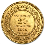 Tunisia 1891-1904 20 Franc Gold (Almost Uncirculated or Better)