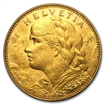 Switzerland 1911 - 1922 10 Francs Gold EF-AU