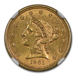 1861 $2.50 Liberty Gold Quarter Eagle - Type 2 Rev - AU-58 NGC