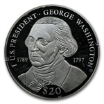 Liberia 2000 $20 Silver Proof George Washington