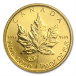 1998 1/10 oz Family of Eagles Gold Canadian Maple Leaf (In Assay)