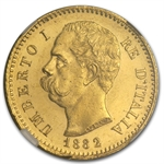 Italy 1882 20 Lire Gold NGC MS-64