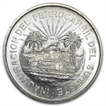 1950 Silver 5 Pesos Southern Railroad (XF or Better) ASW .6431