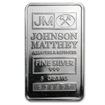 5 gram Johnson Matthey Silver Bar (Logo Back) .999 Fine