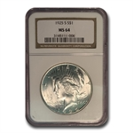 1925-S Peace Dollar MS-64 NGC