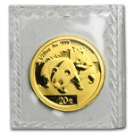 2008 (1/20 oz) Gold Chinese Pandas - (Sealed)