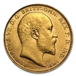 Great Britain Gold Sovereign Edward VII AU AGW .2354