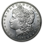 1878 Morgan Dollar - 7/8 Tailfeathers - Almost Uncirculated-58