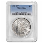 1878 Morgan Dollar - 8 Tailfeathers MS-64 PCGS