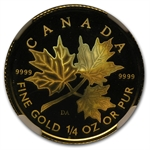 2001 1/4 oz Hologram Gold Canadian Maple Leaf SP-69 NGC