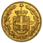 Italy Gold 20 Lire (Average Circulated)