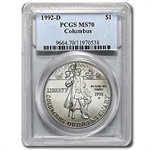 1992-D Columbus Quincentenary $1 Silver Commem - MS-70 PCGS