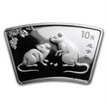 2008 Rat Fan Shaped 1 oz Silver (W/Box & Coa)