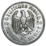 Germany 1935-1939 5 Reichsmark Silver Average Circulated