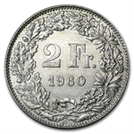 Switzerland 2 Francs Silver 1901-1967 Avg Circ    ASW .2685