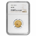 1915 $2.50 Indian Gold Quarter Eagle - AU-58 NGC