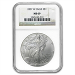 2007-W (Burnished) Silver American Eagle MS-69 NGC
