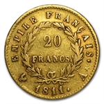 France Gold 20 Francs Napoleon (1807-1814)