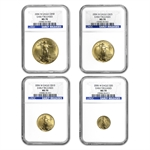2006-W 4-Coin Burnished Gold American Eagle Set MS-70 NGC (ER)