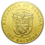 Panama 1975 100 Balboas Gold Brilliant Uncirculated