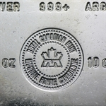 10 oz Royal Canadian Mint RCM Silver Bar (Vintage) .999 Fine