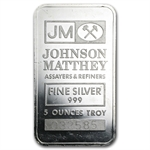 5 oz Johnson Matthey Silver Bar (Pressed, JM logo) .999 Fine