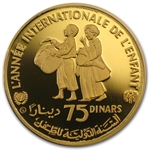 Tunisia 1982 75 Dinars Gold (Proof) Children with Drums