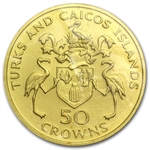 Turks & Caicos 1974 50 Crowns Gold Matte