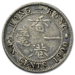 Hong Kong 1900 10 Cents Silver Very Fine