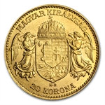 Hungary 20 Korona Gold Brilliant Uncirculated