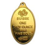 1 oz Pamp Suisse Gold Oval (Light Abrasions) .9999 Fine