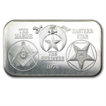 1 oz Masons - Shriners - Eastern Star Silver Bar .999 Fine