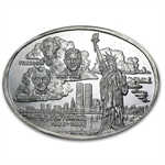 3 oz Silver Oval - Statue of Liberty - .999 Fine