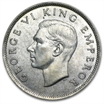 New Zealand Silver 1/2 Crown AU George VI