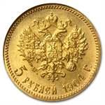 Russia 1904 5 Roubles Gold NGC MS-65