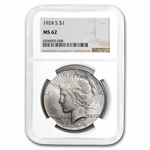 1924-S Peace Dollar MS-62 NGC