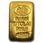 3.75 oz 10 Tolas Pamp Suisse Gold Bar .999+ Fine