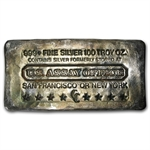 100 oz U. S. Assay Office Silver Bar .999 Fine (Poured)