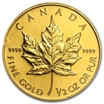 1/2 oz Gold Canadian Maple Leaf (Abrasions)