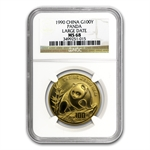 1990 1 oz Gold Chinese Panda MS-68 NGC - Large Date