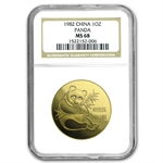 1982 1 oz Gold Chinese Panda MS-68 NGC