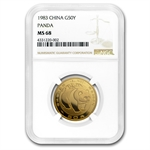 1983 (1/2 oz) Gold Chinese Pandas - MS-68 NGC