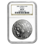 2001 Silver Chinese Panda 1 oz - MS-69 NGC