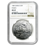 1989 Silver Chinese Panda 1 oz - MS-69 NGC