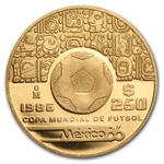 Mexico '85 or '86 250 Pesos Gold (BU) KM#500.1 (W/fineness stamp)