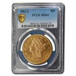1883-S $20 Gold Liberty Double Eagle - MS-61 PCGS