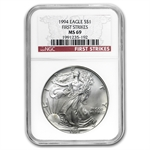 1994 Silver American Eagle - MS-69 NGC - First Strike