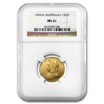 Australia 1901-M Sovereign Gold Victoria NGC MS-61