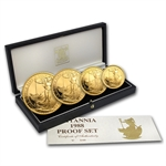 1988 4-Coin Proof Gold Britannia Set (w/Box & CoA)
